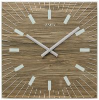 Nástěnné hodiny quartzové čtvercové ams 9578 ořech