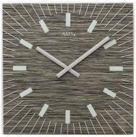 Nástěnné hodiny quartzové čtvercové ams 9579 černý ořech