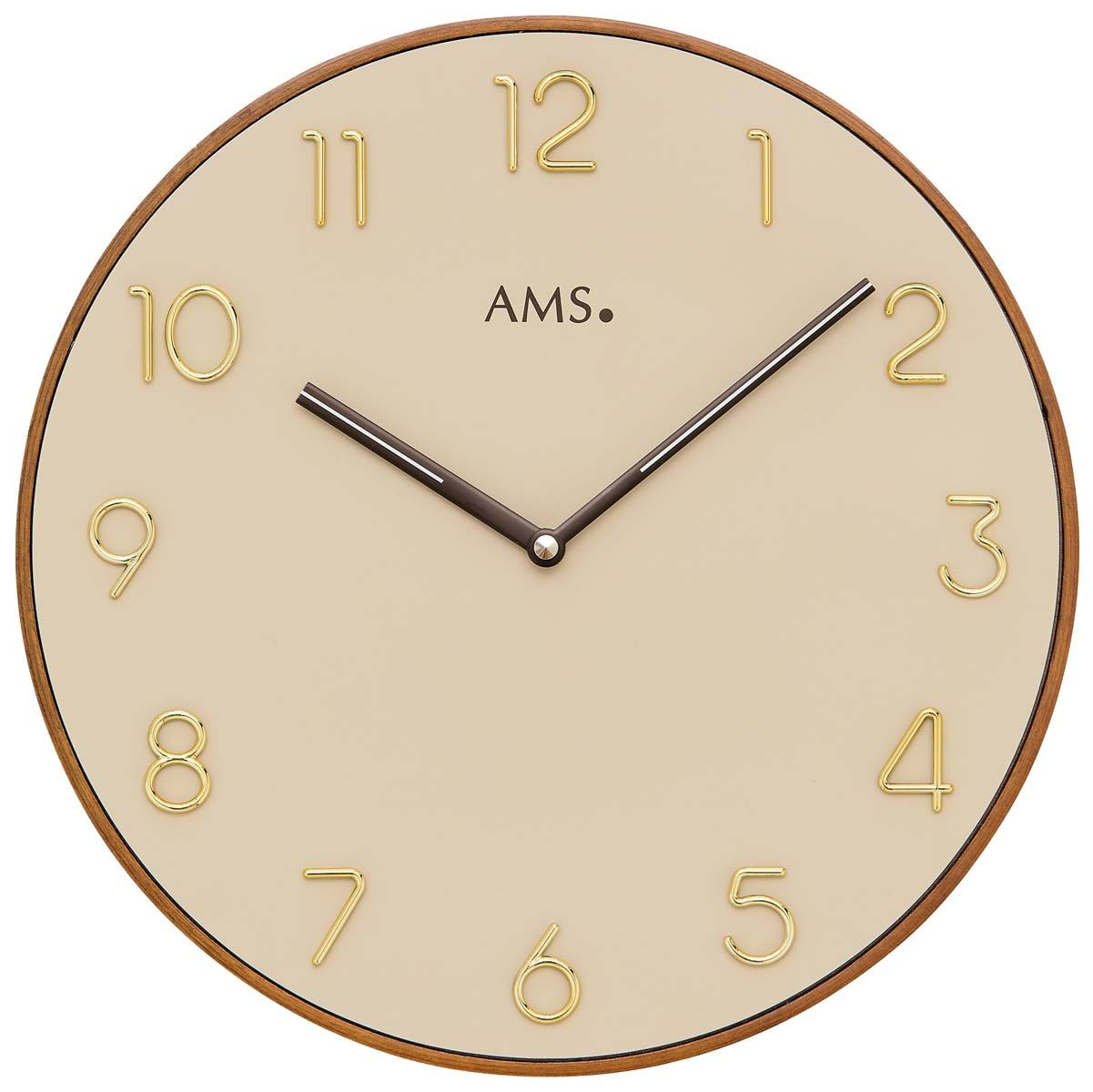 Nástěnné hodiny quartzové kulaté ams 9563 béžová