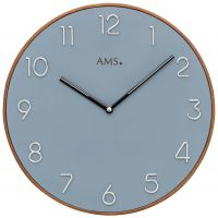 Nástěnné hodiny quartzové kulaté ams 9564 modrá