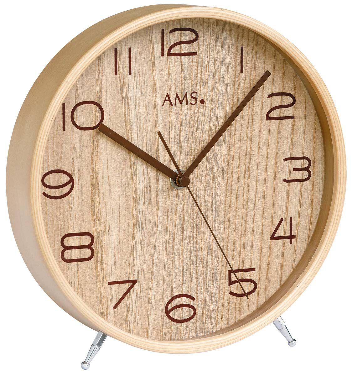 Stolní hodiny dřevěné ams 5118 rádiem řízený čas béžová