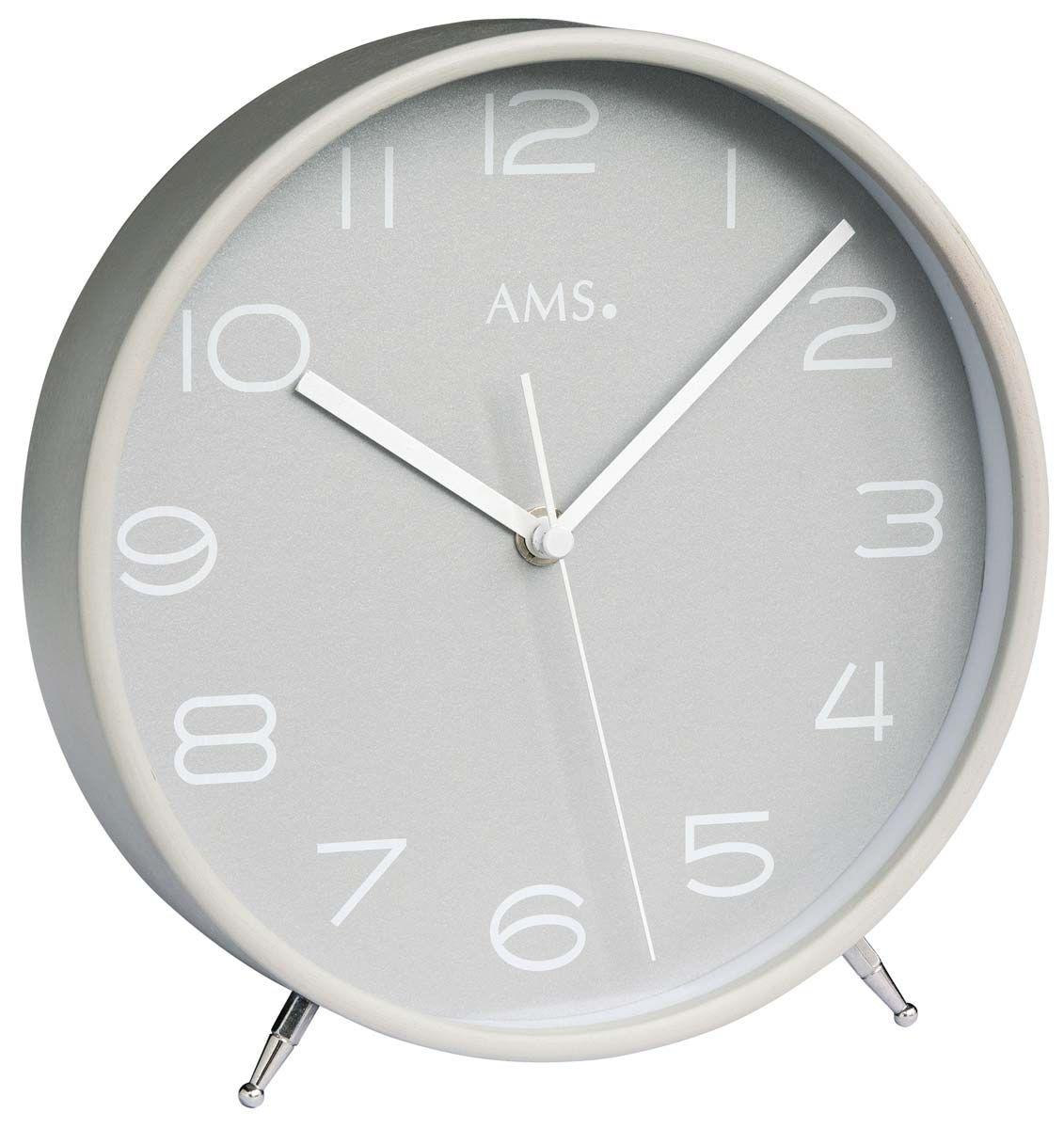 Stolní hodiny dřevěné ams 5119 rádiem řízený čas stříbrná