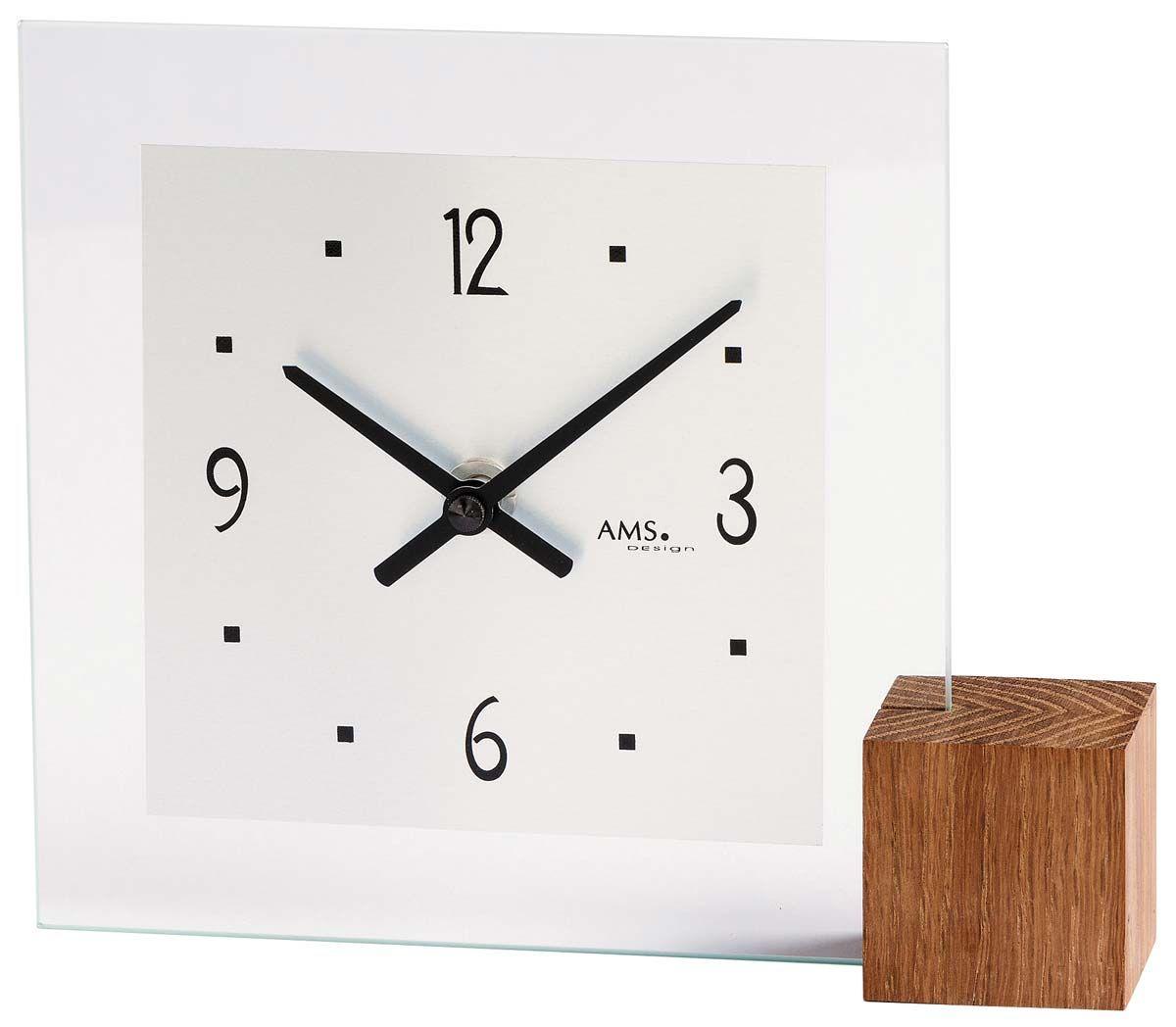 Stolní hodiny luxusní AMS 104 minerální sklo + dřevo