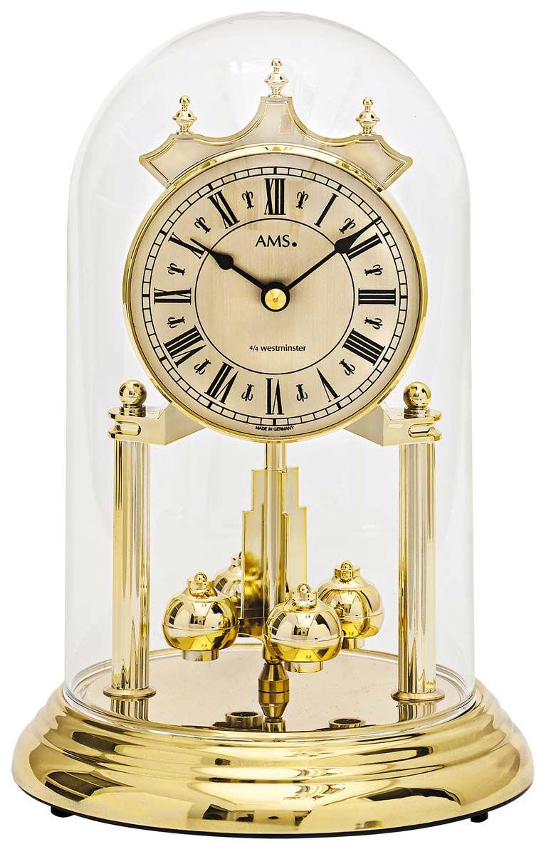 Stolní hodiny ročky ams 1204 oválné barva zlatá mosaz