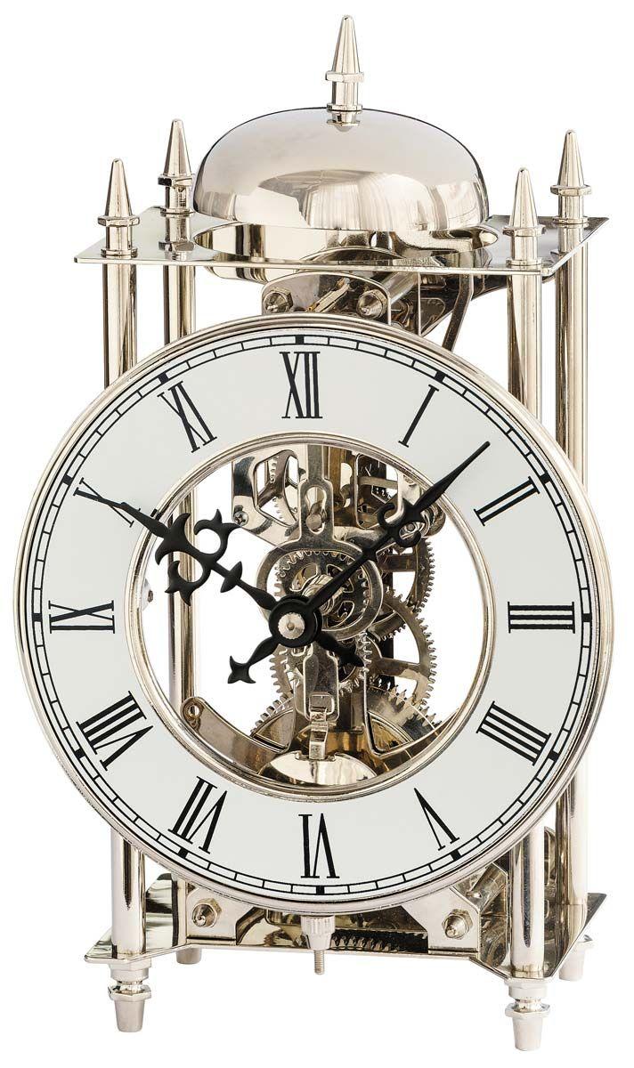 Stolní mechanické hodiny  ams 1184 stříbrná