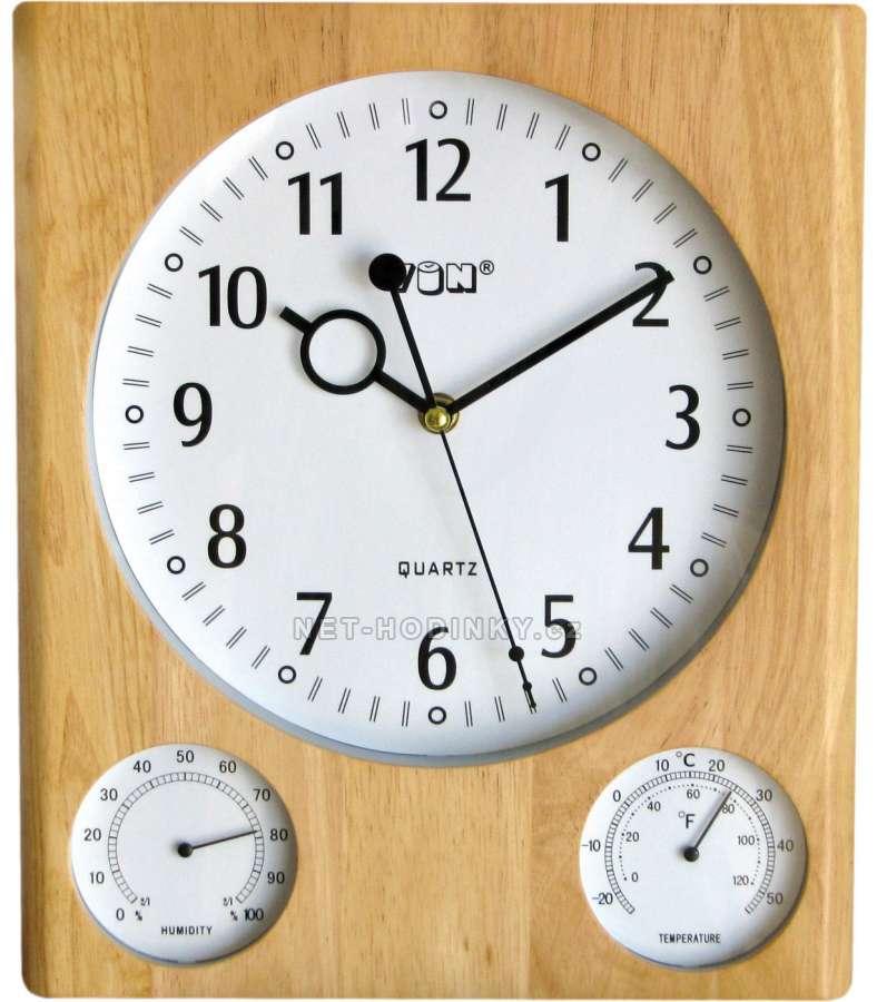 VIN Hodiny nástěnné dřevěné s teploměrem HPW996-1 - 2 varianty barev, hodiny na stěnu HPW996-2