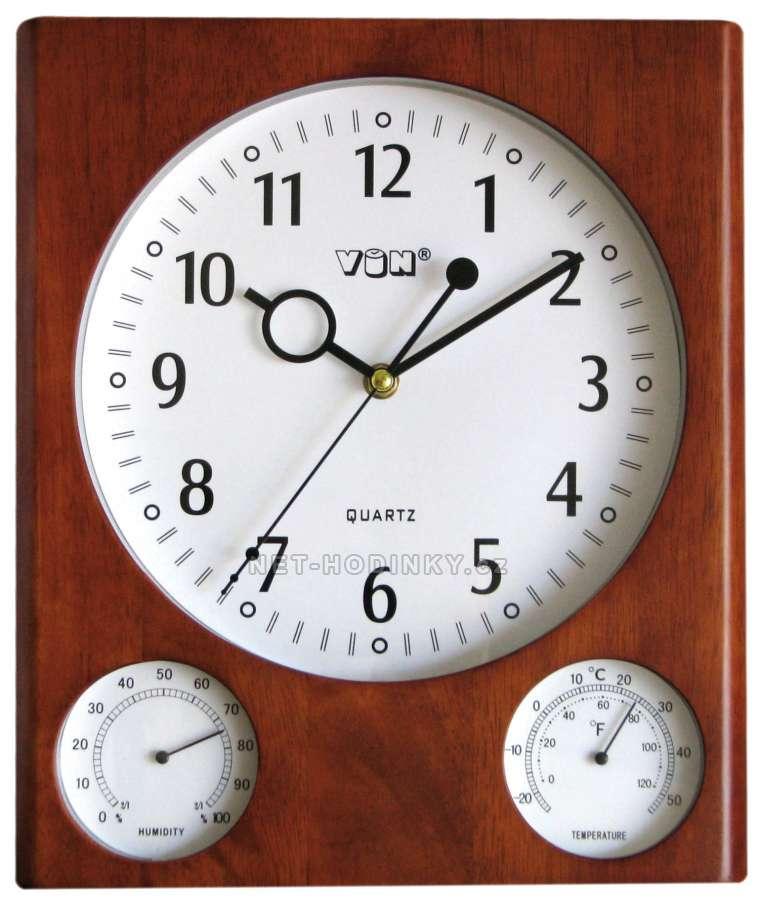 VIN Hodiny nástěnné dřevěné s teploměrem HPW996-1 - 2 varianty barev, hodiny na stěnu HPW996-1