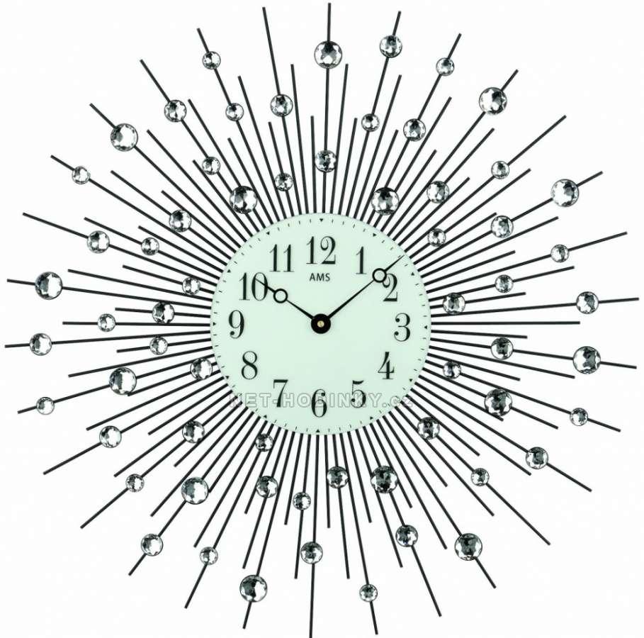 Hodiny nástěnné kovové AMS 9380, hodiny na zeď