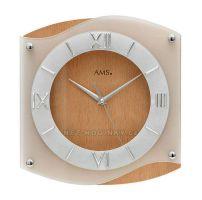 Hodiny quartzové AMS 9321/18 buk hodiny na zeď hranaté, SWEEP