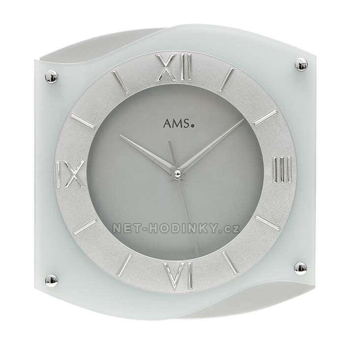 Hodiny quartzové AMS 9321 hodiny na zeď hranaté, SWEEP