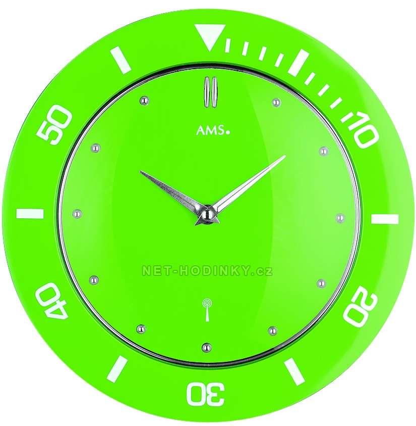 Hodiny řízené radiovým signálem AMS 5940, AMS 5941, AMS 5942, AMS 5943, AMS 5944, hodiny na zeď kulaté ams 5942 zelená