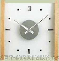 H&H Skleněné nástěnné hodiny na zeď 1103.4 přírodní dřevo