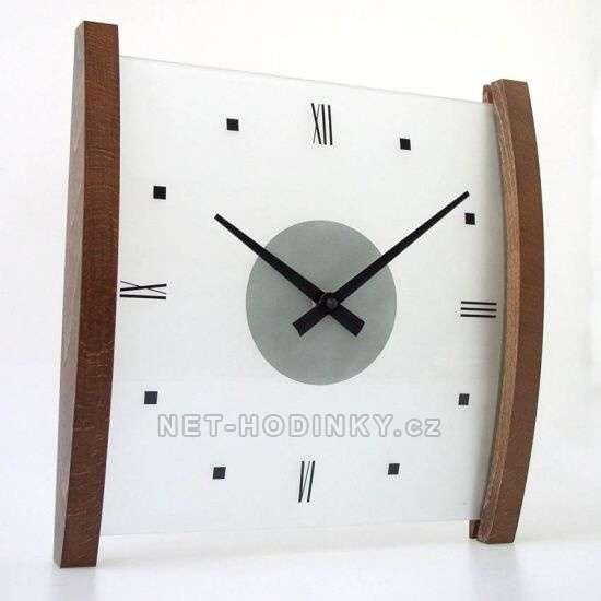 H&H Skleněné nástěnné hodiny na zeď 1102.3 tmavé dřevo