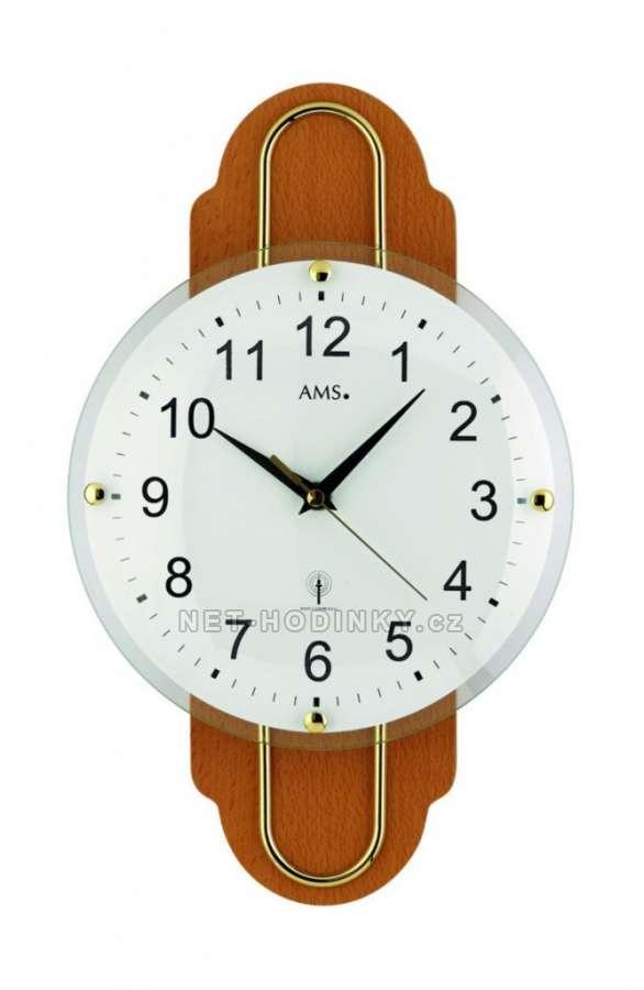 Nástěnné hodiny s rádiovým signálem AMS 5939/1 ořech, AMS 5939/18 buk ams 5939/18 buk