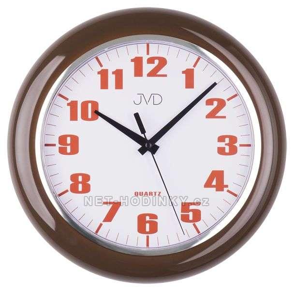 JVD Nástěnné plastové hodiny sweep HA5.1 hnědá, HA5.2 bílá, HA5.3 zelená HA5.1