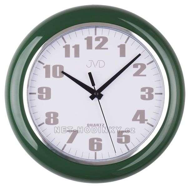 JVD Nástěnné plastové hodiny sweep HA5.1 hnědá, HA5.2 bílá, HA5.3 zelená HA5.3