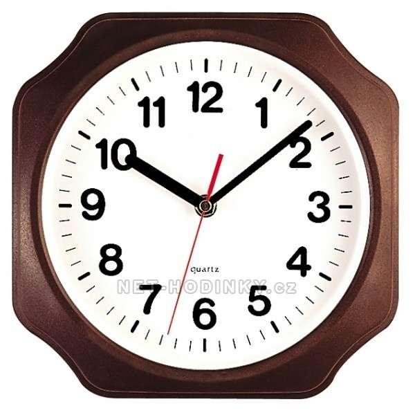 Plastové nástěnné hodiny na zeď hnědá osmihran