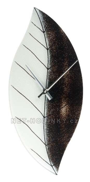 H&H Skleněné nástěnné hodiny na zeď bílá-černá 1197.5