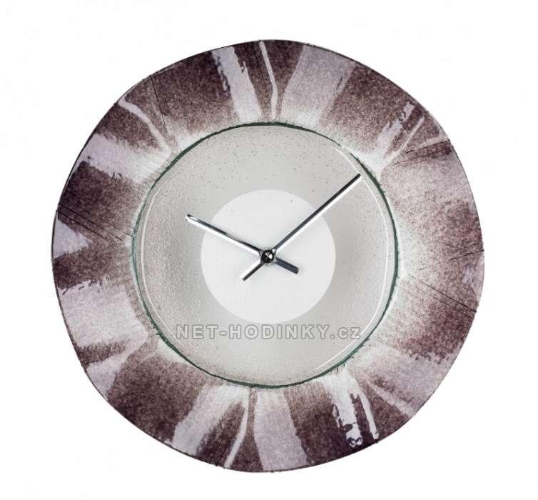 1195 nástěnné hodiny skleněné kulaté fialová