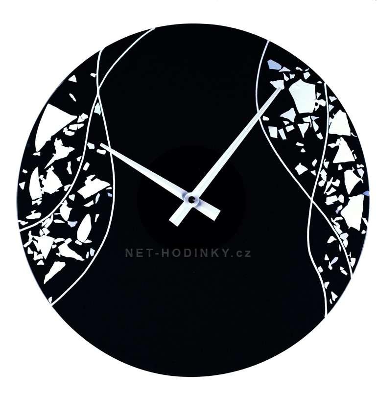 Skleněné nástěnné hodiny na zeď