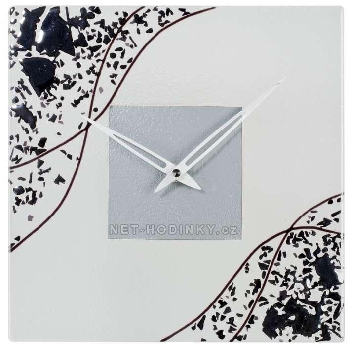 1191 skleněné nástěnné hodiny designové