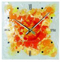 Nástěnné skleněné hodiny CHAOS 1193.4 mix barev oranžová, 1192.3 modrá