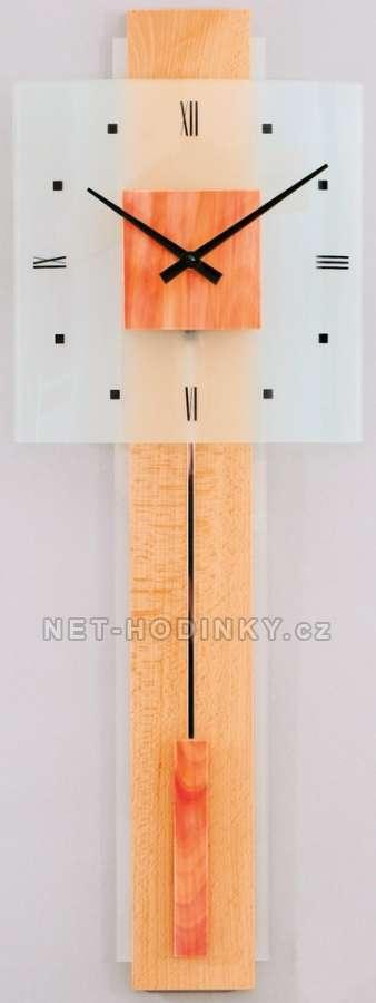 H&H Skleněné nástěnné hodiny na zeď, pendlovky, quartzové kyvadlové hodiny na stěnu 1065 oranžové