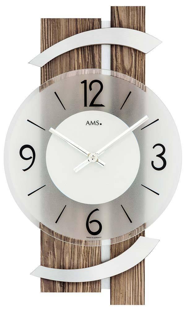 Luxusní nástěnné hodiny designové AMS 9545 hnědé dřevo