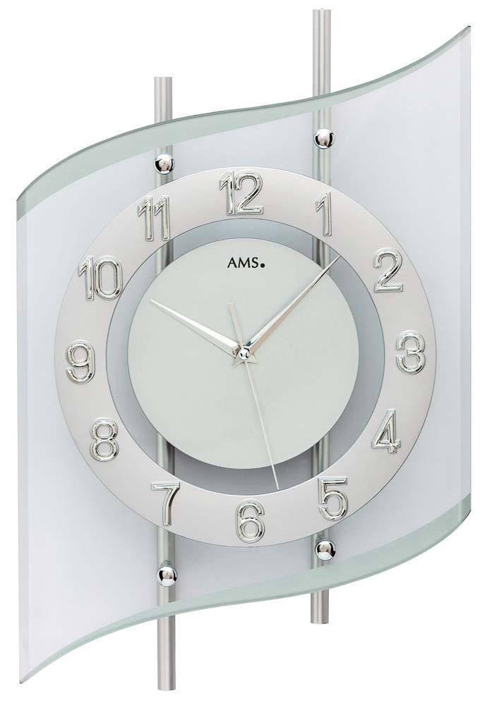 Designové nástěnné hodiny skleněné AMS 5506 řízené rádiovým signálem