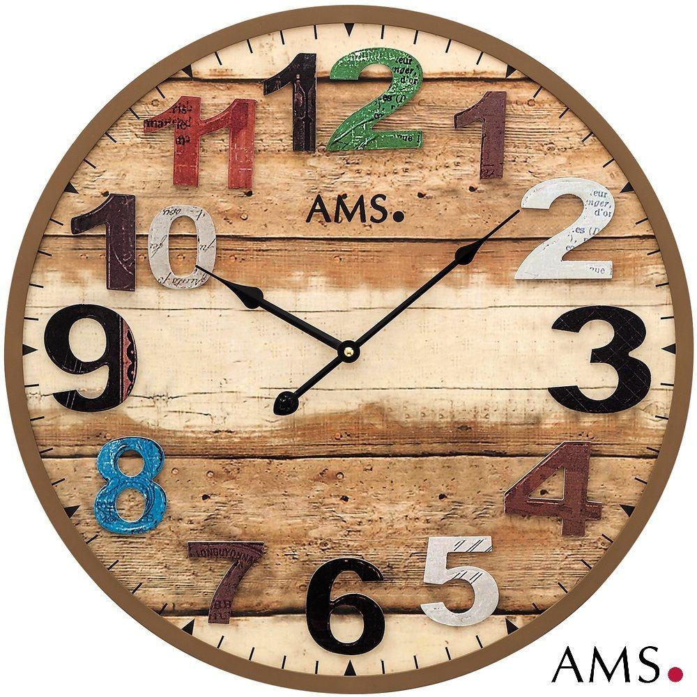Designové retro nástěnné hodiny AMS 9539