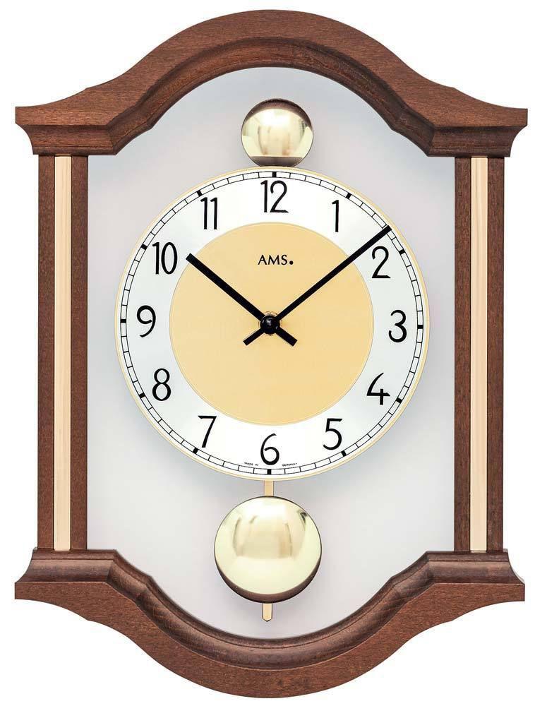 Dřevěné nástěnné hodiny s kyvadlem AMS 7447/1