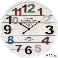 Velké nástěnné hodiny dřevěné AMS 9538  bílá Antik