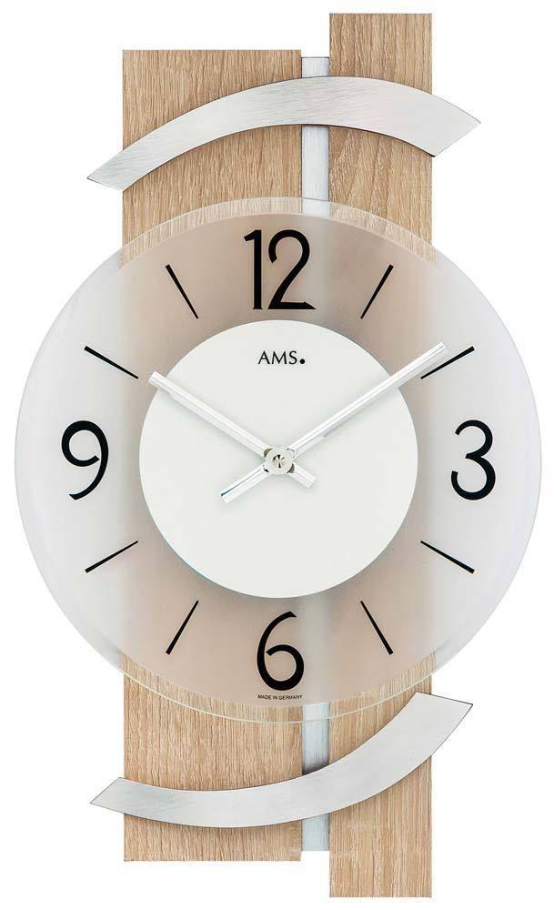 Moderní designové nástěnné hodiny AMS 9546 světlé dřevo