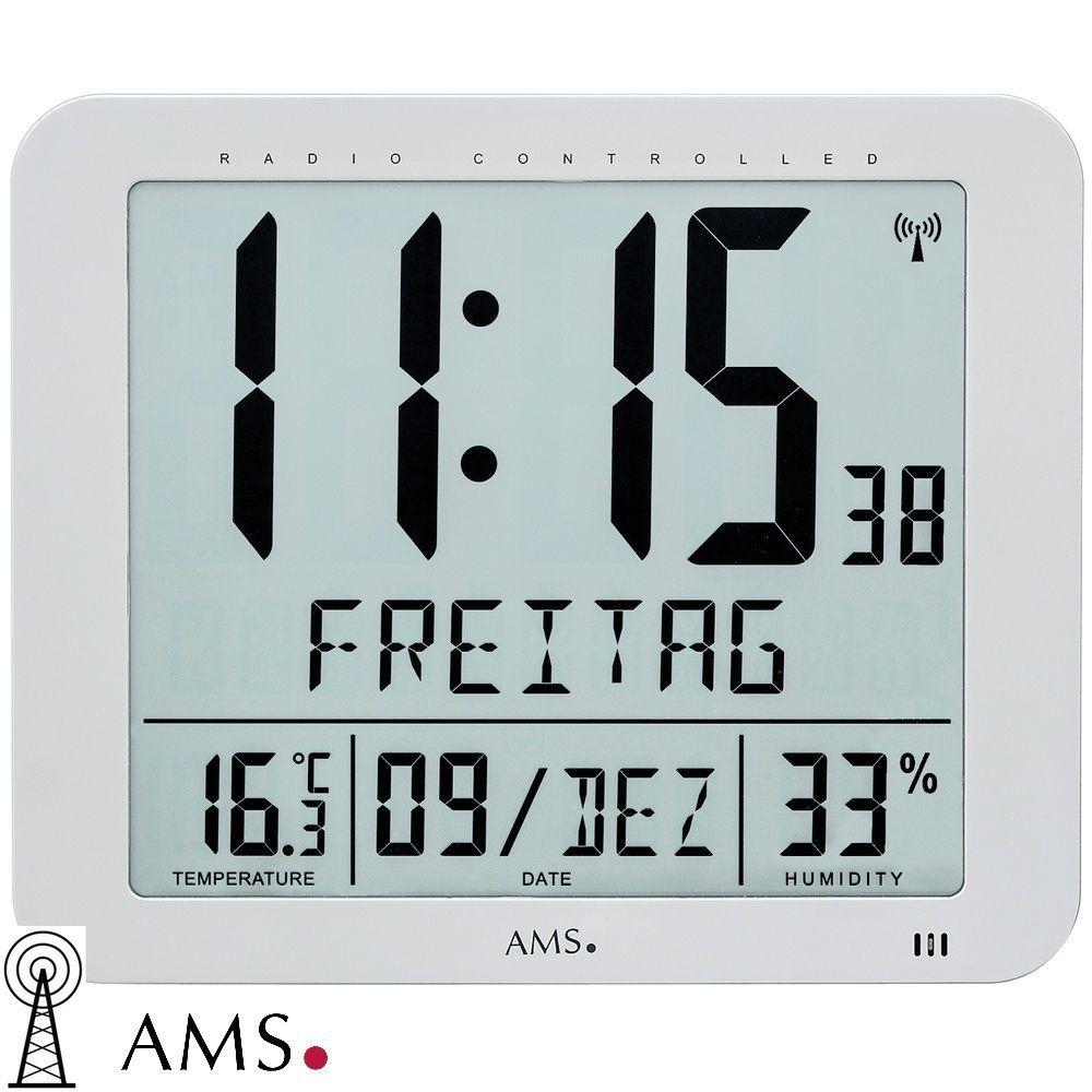 Nástěnné digitální hodiny AMS 5884 řízené rádiovým signálem