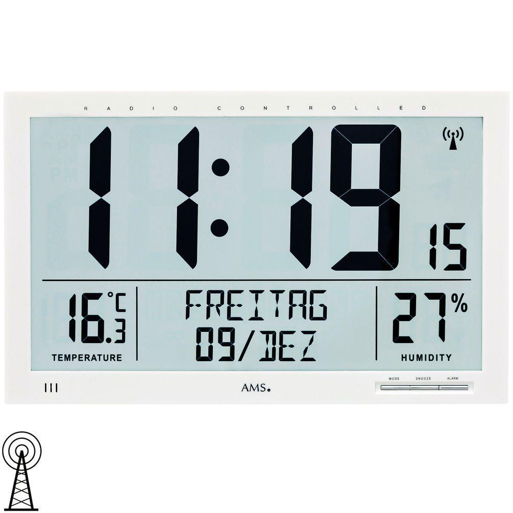 Nástěnné digitální hodiny AMS 5887 řízené rádiem, velké