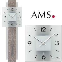 Nástěnné kyvadlové hodiny AMS 7322 imitace kůže