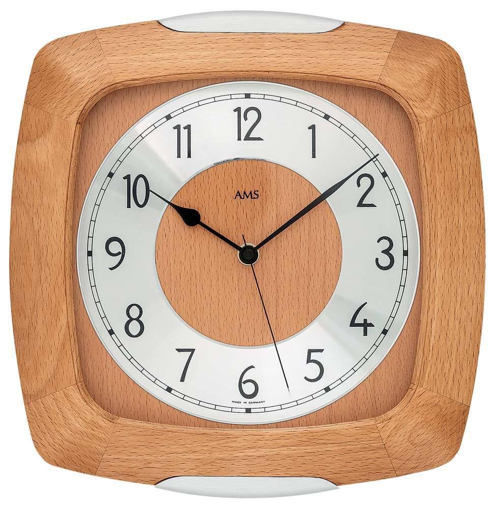 Rádiem řízené nástěnné hodiny AMS 5804/18 buk dřevěné