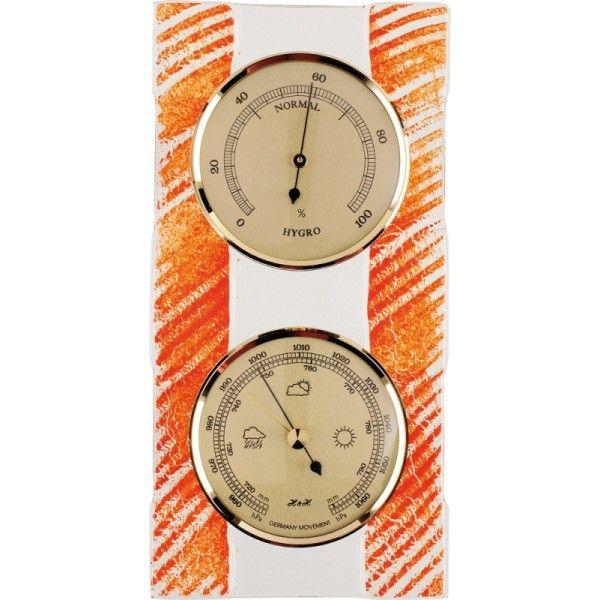 H&H Skleněný pokojový barometr s teploměrem a vlhkoměrem