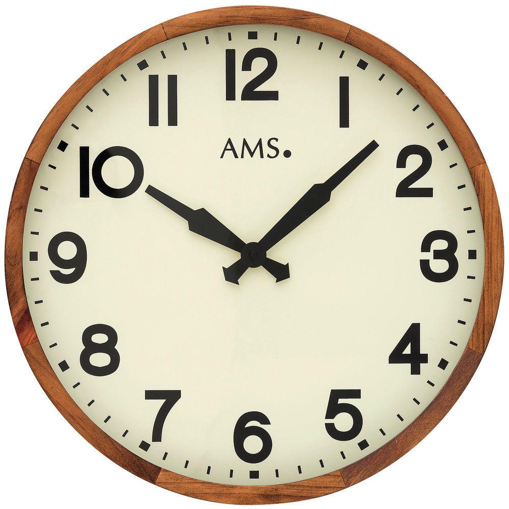 Velké dřevěné nástěnné hodiny AMS 9535