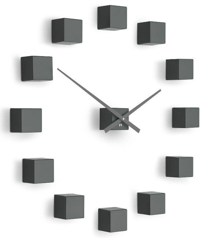 3D samolepící hodiny na zeď Future Time FT3000TT Cubic titanium