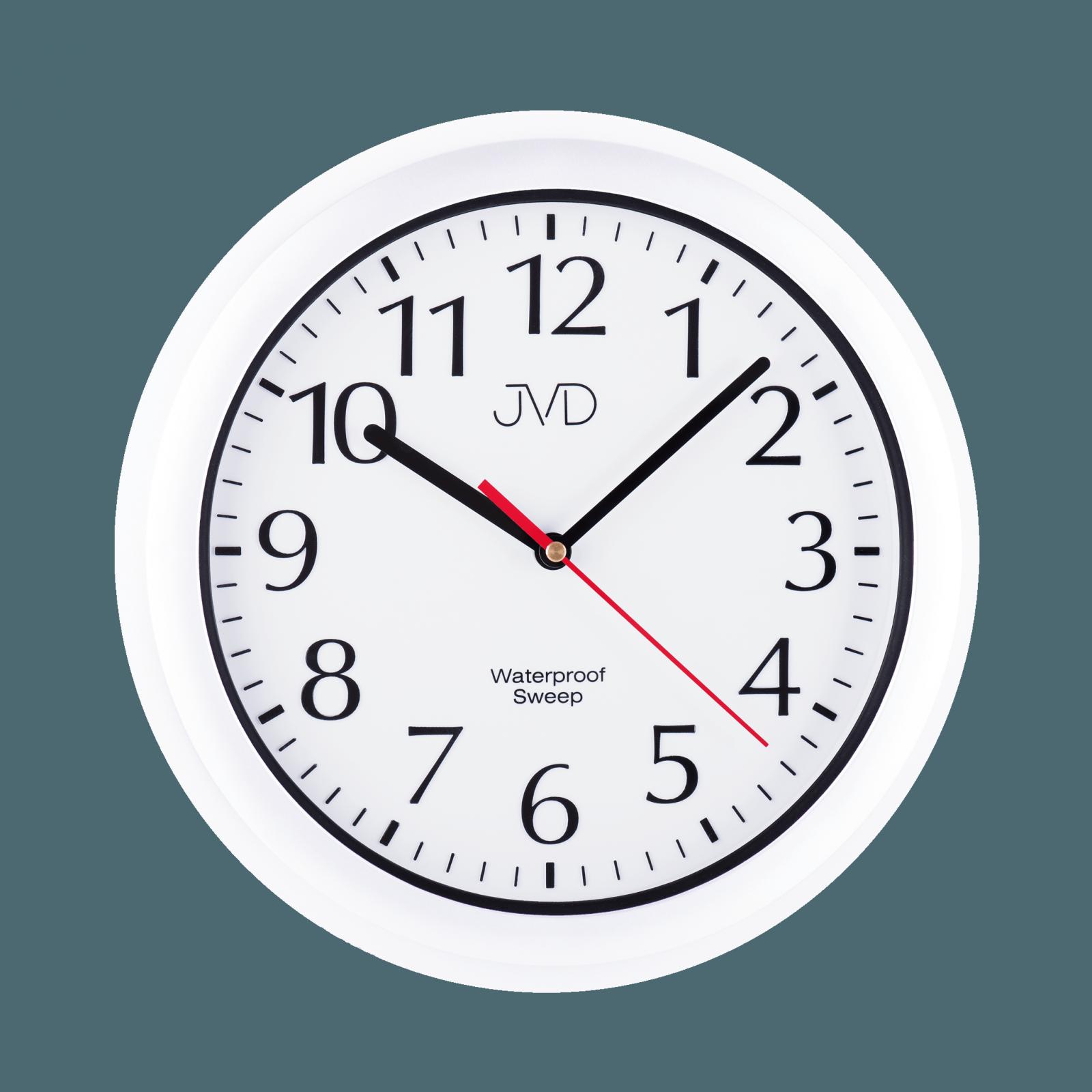 JVD Nástěnné vodotěsné plastové hodiny SH494 bílá barva do bazénové haly, kulaté hodiny do koupelny SH494.1 sh494.4 bílá