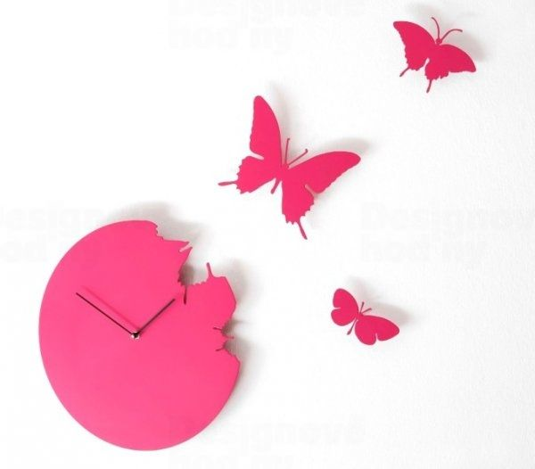 Diamantini&Domeniconi Nástěnné hodiny Diamantini a Domeniconi Butterfly magenta s motýlky