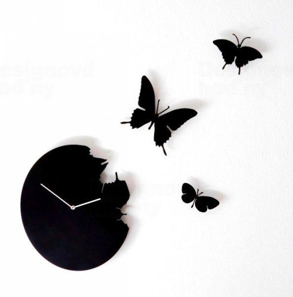 Diamantini&Domeniconi Černé hodiny na zeď Diamantini a Domeniconi Butterfly