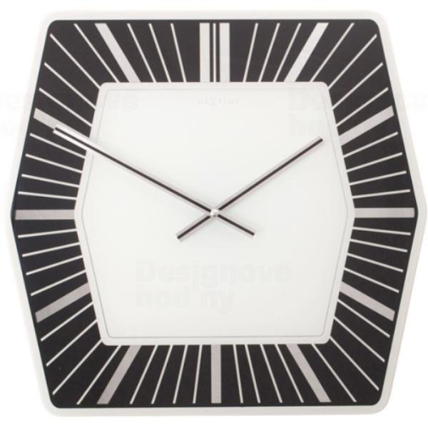 NeXtime Velké skleněné nástěnné hodiny Nextime 8128zw Hexagon black 43cm