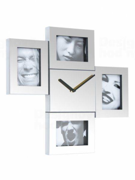 Designové nástěnné hodiny s fotorámečky Fisura Steel Photo Frames