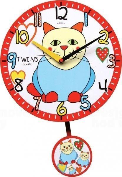 Nástěnné dětské hodiny Twins hodiny 10411 kočka 25cm