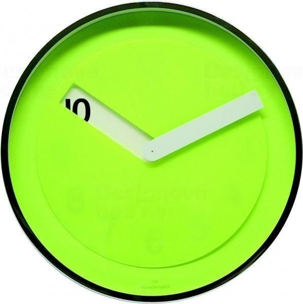 Twins Designové nástěnné hodiny z chromovaného kovu s zeleným ciferníkem