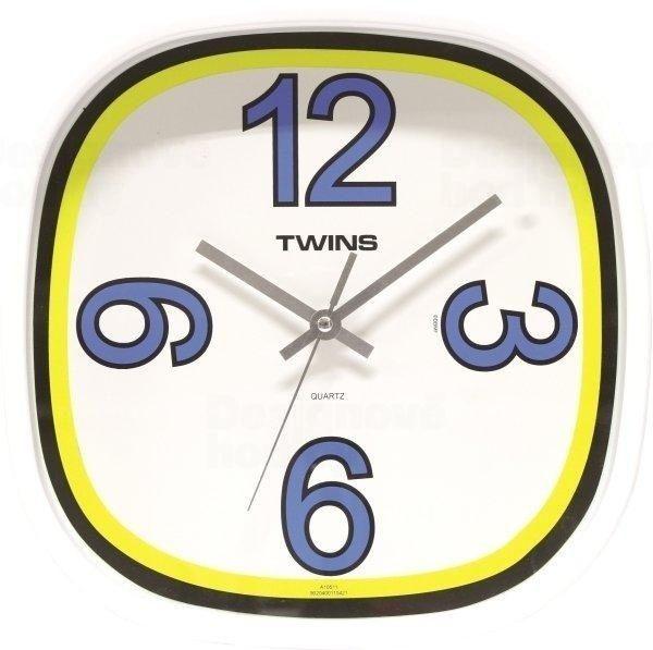 Designové nástěnné hodiny Twins v modré barvě