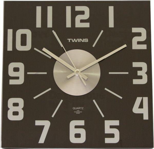 Twins Designové dřevěné nástěnné hodiny s kovovými prvky