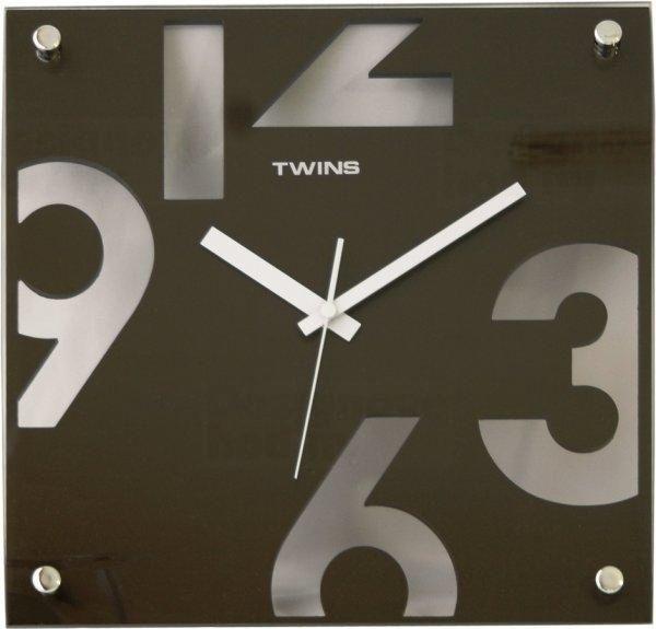 Twins Moderní designové hodiny čtvercového tvaru v hnědé barvě
